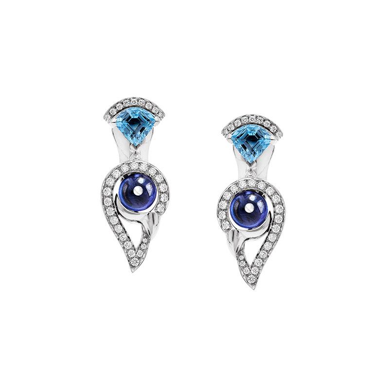 宝格丽/BVLGARI DIVAS'DREAM系列白色18K金耳环镶钻